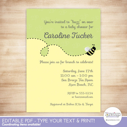 Bumblebee Baby Shower Invitation (colorblock)