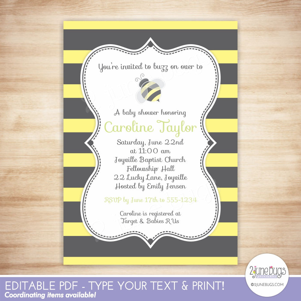Bumblebee Stripes Baby Shower Editable Printable PDF Invitation Template