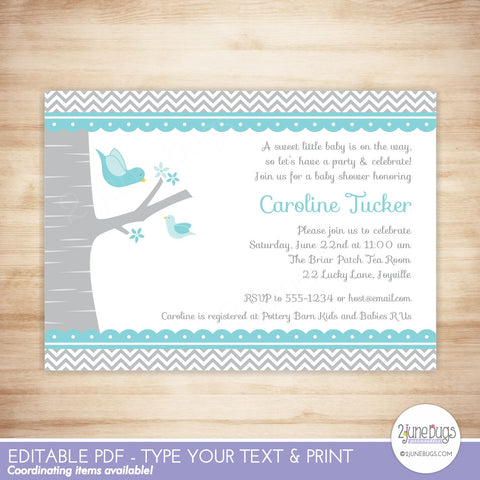 Bird Baby Shower Invitation (blue)