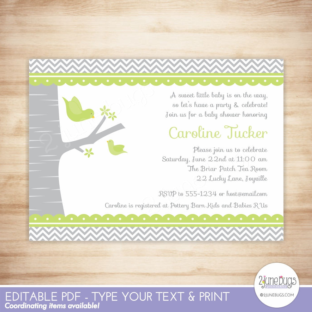 Green Bird Gender Neutral Baby Shower Editable Printable PDF Invitation Template