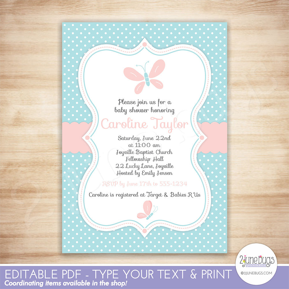 2 june bugs Editable Butterfly Baby Shower Invitation
