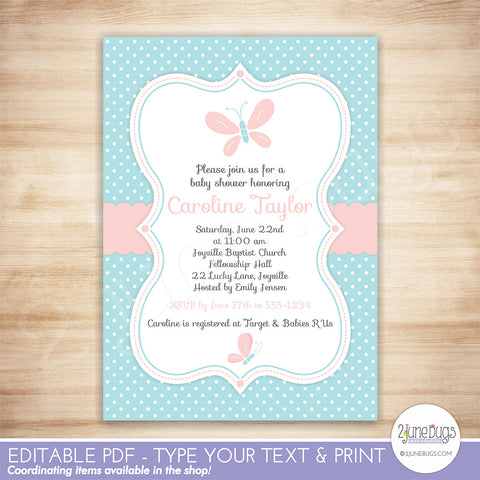 Butterfly Baby Shower Invitation (Pink and Blue)