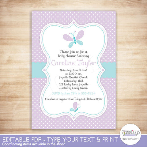 Butterfly Baby Shower Invitation (purple and teal)