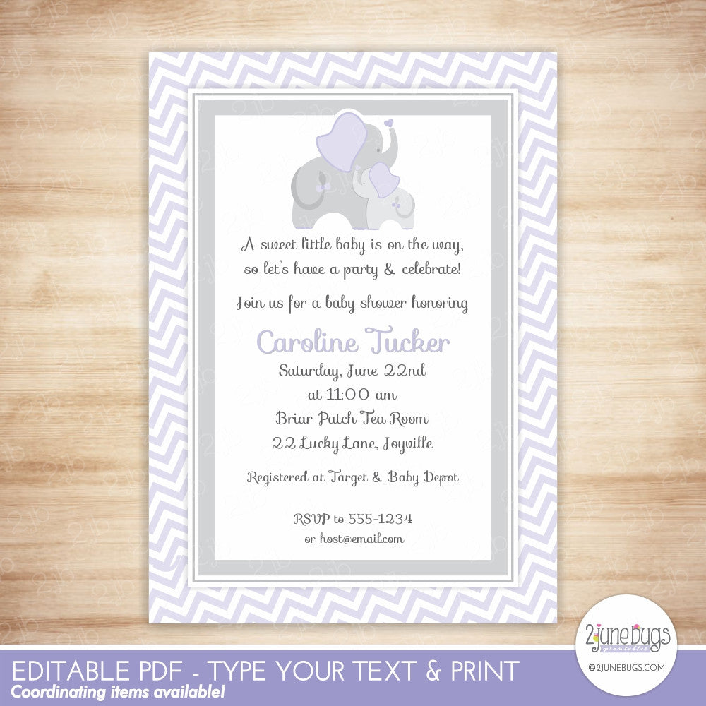 Elephant Baby Shower Invitation (purple chevron)