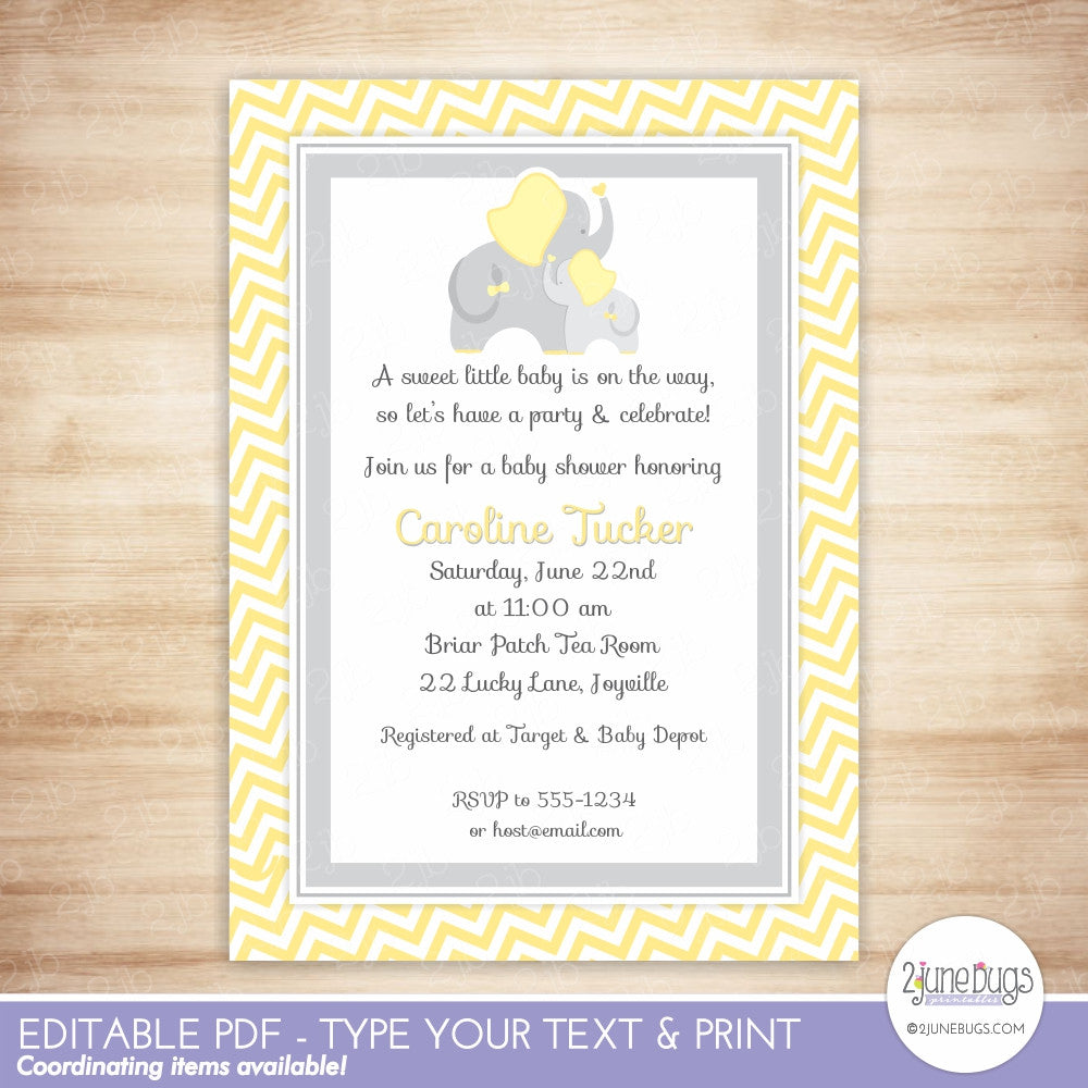 Yellow and Gray Elephant Baby Shower Editable Printable PDF Invitation Template