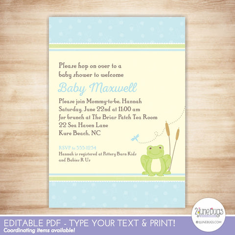 Frog Baby Boy Shower Invitation