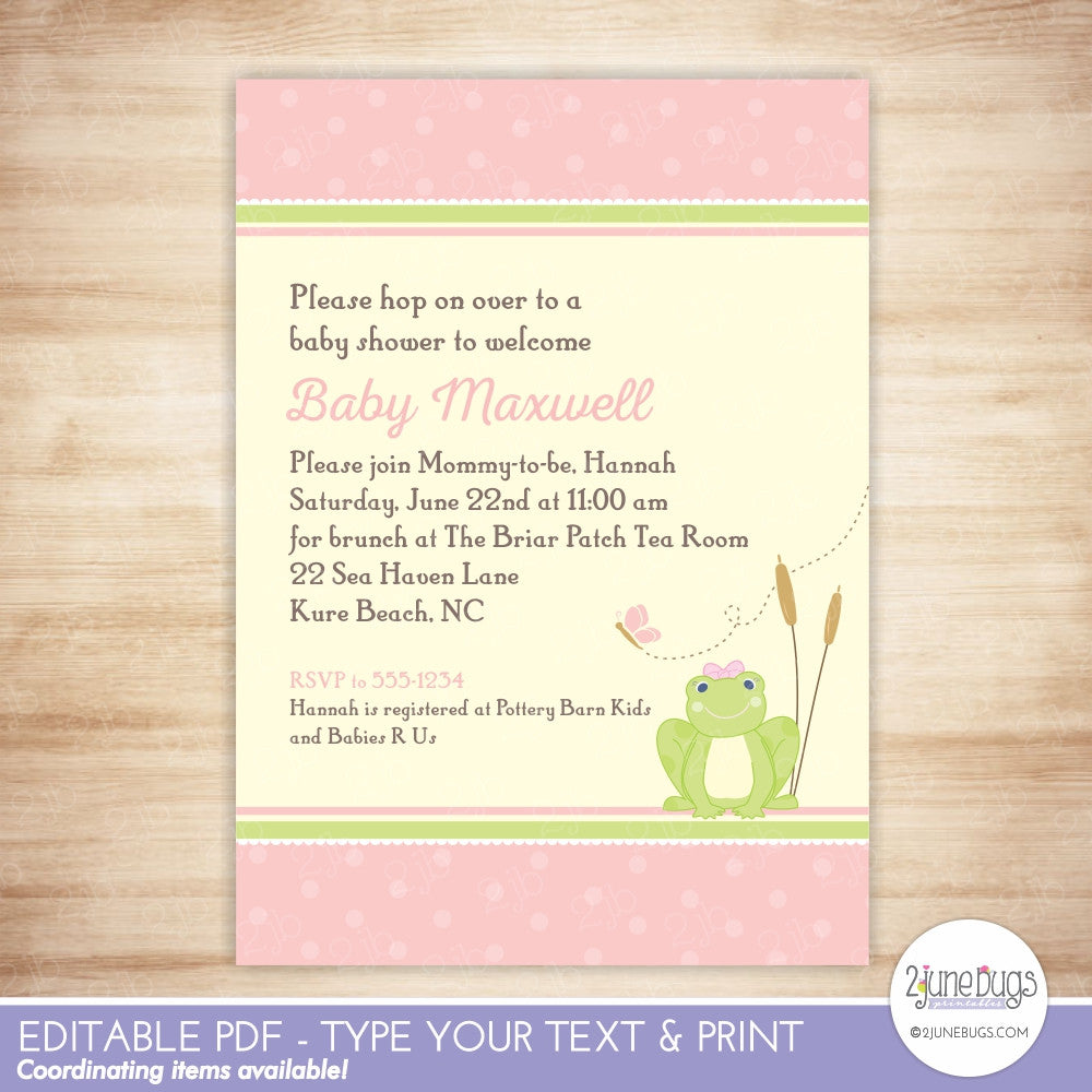 Frog Baby Girl Shower Editable Printable PDF Invitation Template