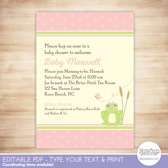 Printable Editable Baby Shower Invitations 2 june bugs