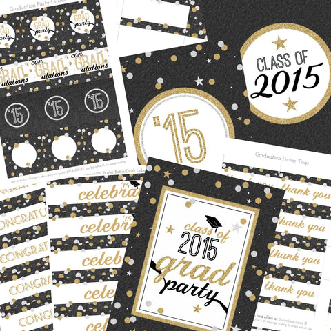 2015 Confetti and Glitter Editable Graduation Party Package