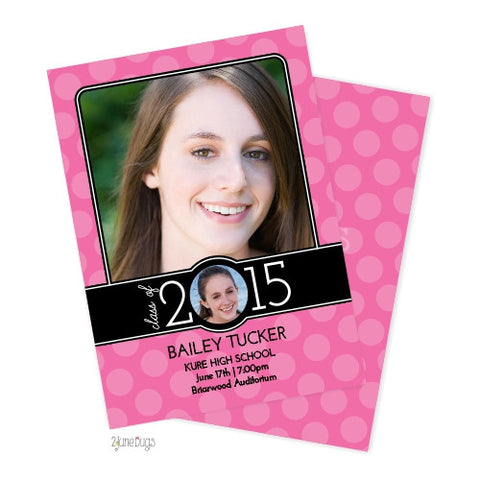 Big Polka Dot Graduation Photo Announcement