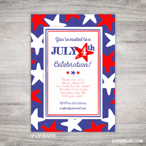 Printable July 4th Party Invitation