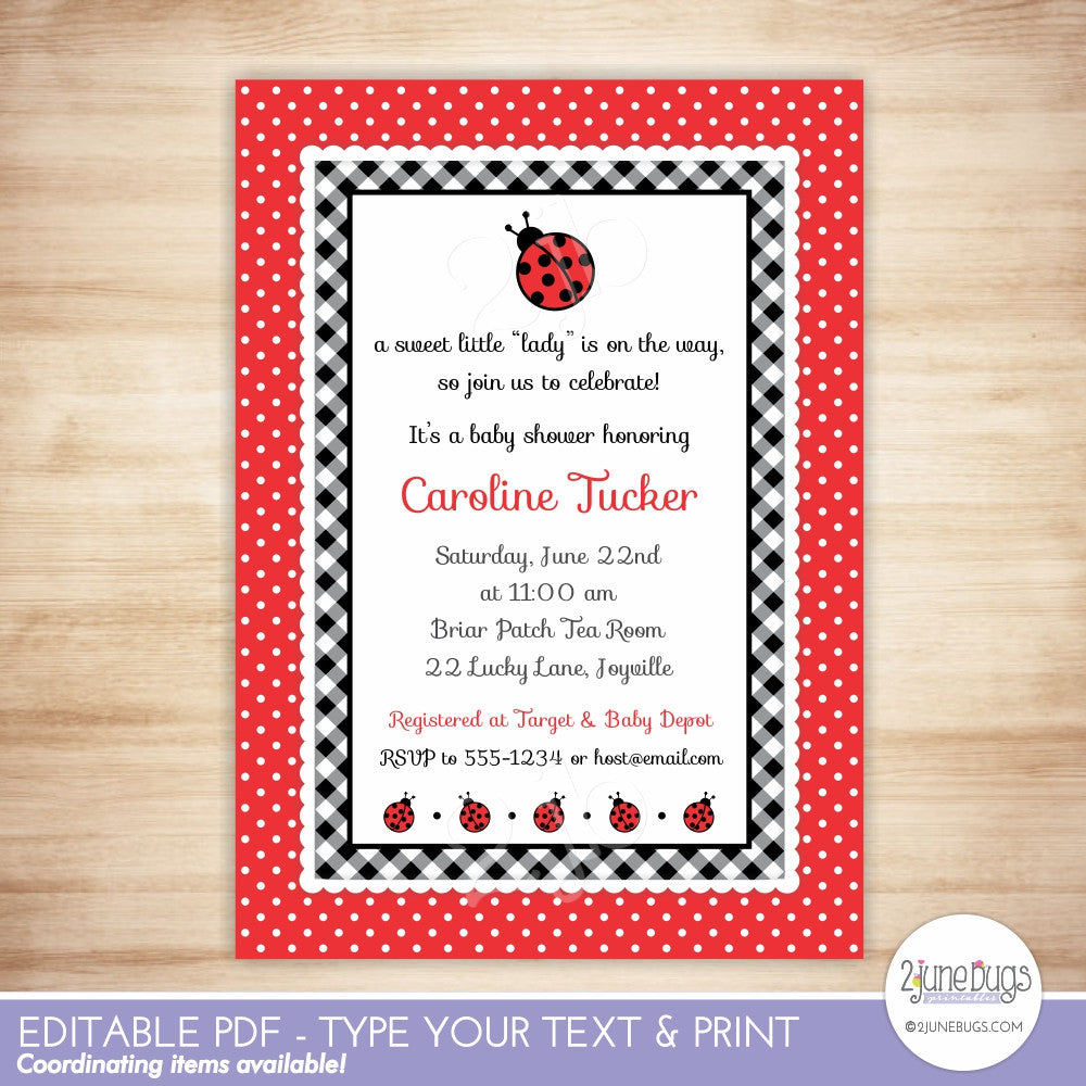 Ladybug Baby Girl Shower Invitation