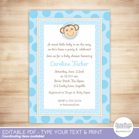 Monkey Baby Boy Shower Invitation