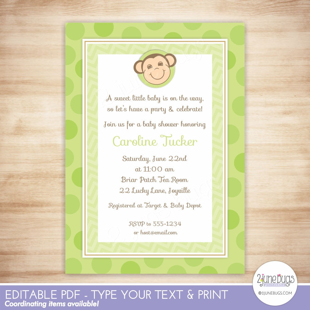 Green Monkey Baby Shower Editable Printable PDF Invitation Template