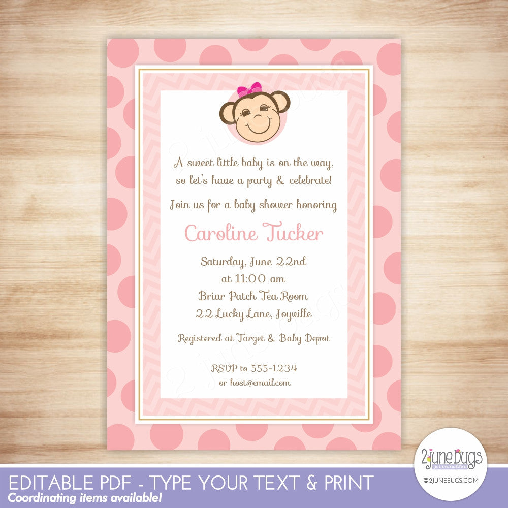 Pink Monkey Girl Baby Shower Editable Printable PDF Invitation Template