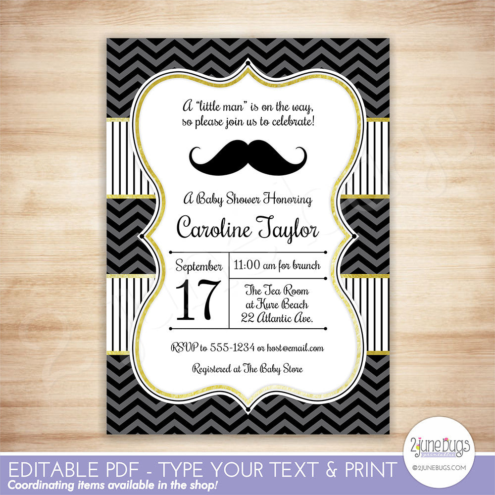 Mustache Baby Shower Invitation - Editable Printable PDF Template