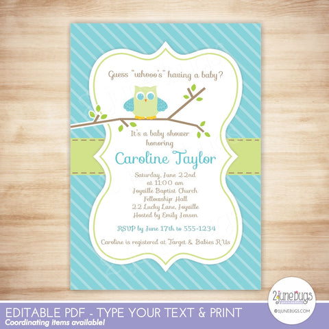 Owl Baby Boy Shower Invitation - Blue