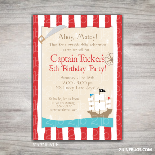 2 june bugs Printable Pirate Birthday Party Invitation