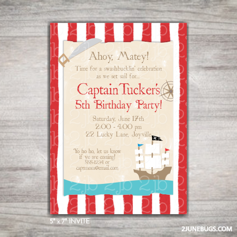 Pirate Birthday Party Invitation Template