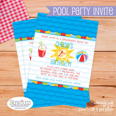 Printable Pool Party / Beach Bash Invitation