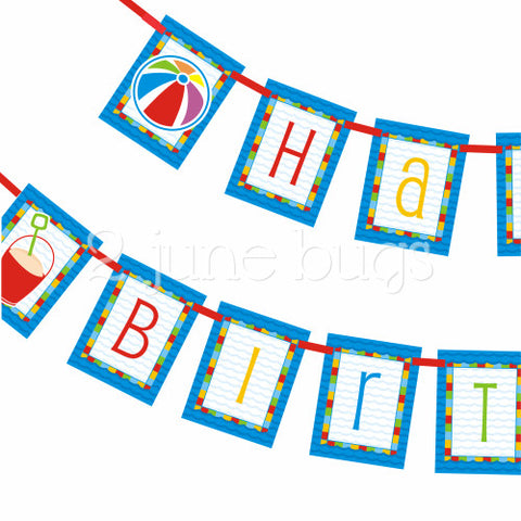 2 june bugs Pool Party Printable Birthday Banner