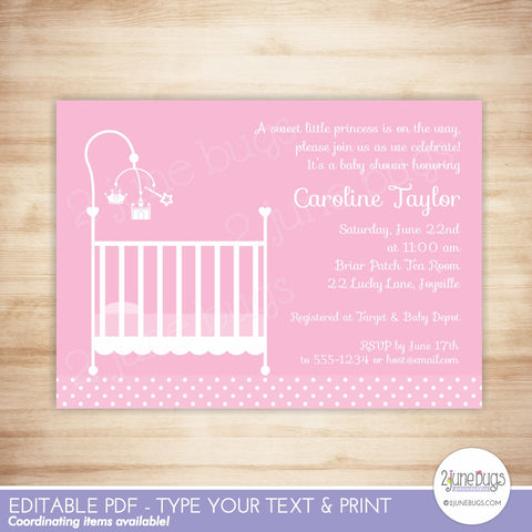 Princess Crib Baby Girl Shower Invitation