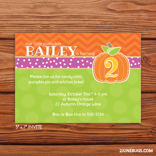 2 june bugs Printable Pumpkin Birthday Party Invitation