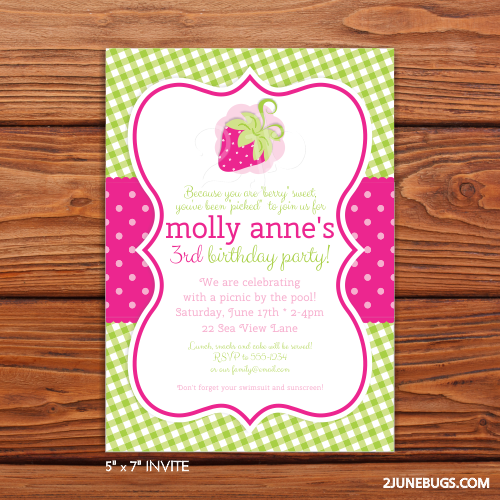 2 june bugs Printable Strawberry Party Invitation