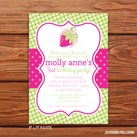 Printable Strawberry Party Invitation