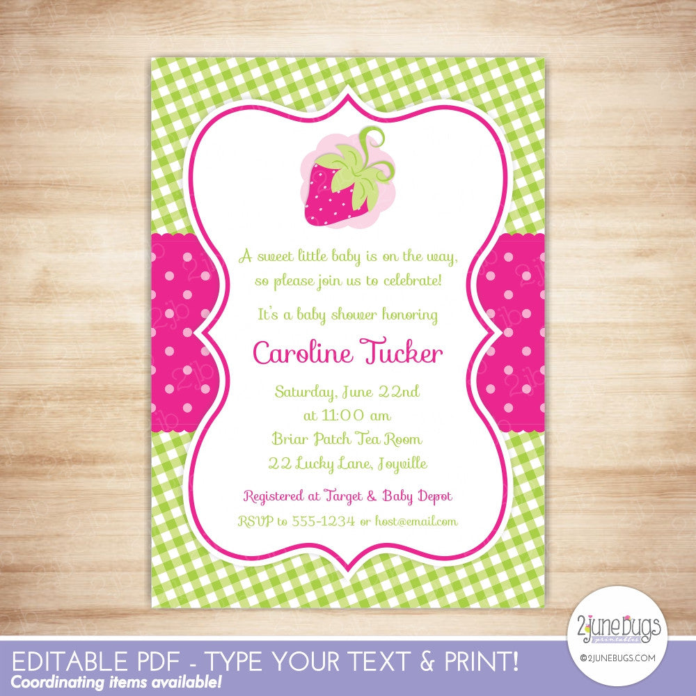 Pink Strawberry Baby Shower Editable Printable PDF Invitation Template
