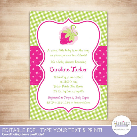 Strawberry Baby Shower Invitation (pink)