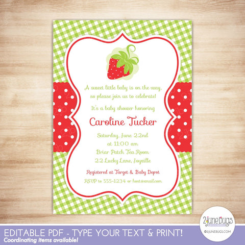 Red Strawberry Baby Shower Editable Printable PDF Invitation Template