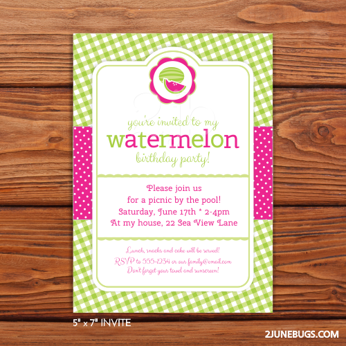 2 june bugs Printable Watermelon Party Invitation