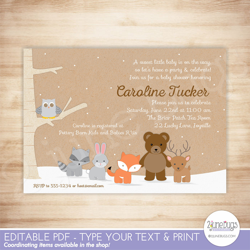 Winter Woodland Baby Shower Invitation - Editable Printable PDF Template