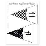 Black and White Editable Printable Party Banner