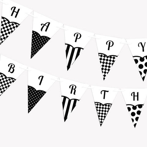 Black and White Theme Party Banner - Printable