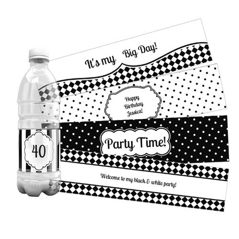 Black & White Water Bottle Labels