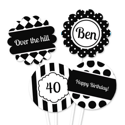 Black and White Theme Party Circles for Cupcake Toppers - Printable
