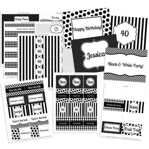 Black and White Theme Party Kit Printables by 2 june bugs