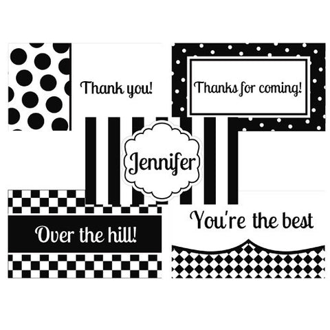 Black and White Theme Party Favor Tags - Printable