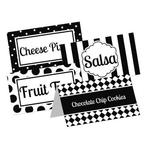 Black and White Theme Party Food Table Tent Cards - Printable