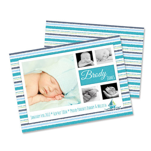 Baby Announcement  -  Blue, Aqua and Gray Stripes with Sailboat
