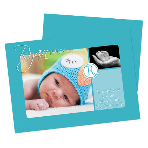 Baby Announcement  - Blue & Teal with Monogram
