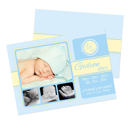 Birth Announcement  -  Blue and Yellow with Monogram