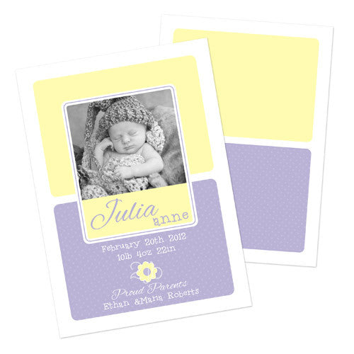 Baby Announcement  -  Purple and Yellow with Flower