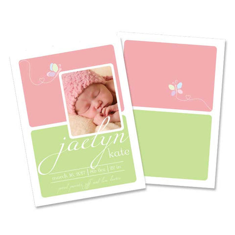 2 june bugs Baby Announcement  -  Green and Pink with Butterfly