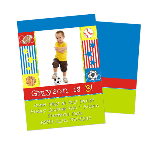 Birthday Invitation - Sports Theme
