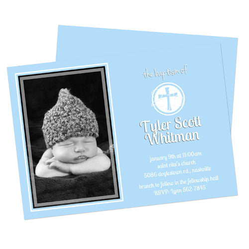 Baptism Announcement  -  Blue with Cross Design