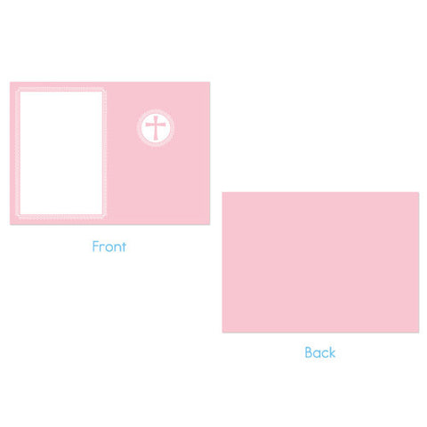 Baptism Announcement  -  Pink with Cross Design
