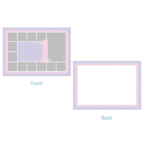 Birthday Invitation - Purple Polka Dots and Pink Gingham